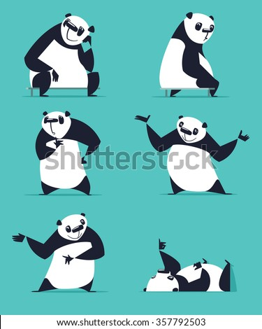 Set of Panda in various poses. Sitting, dreaming, thinking, showing, lying, inviting, turning. Each Panda is in separate layer. - stock vector