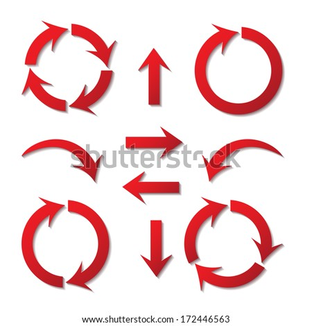 set of paper arrows red with shadows on white background - stock vector