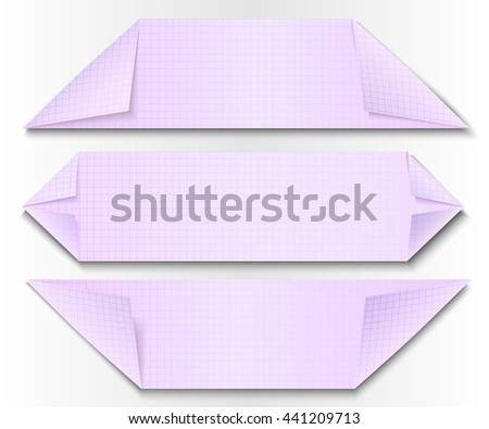 Set of paper banners, folded in the form of arrows - stock vector