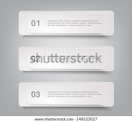 Set of paper banners template for business design, infographics, reports, number options, step presentation or workflow layout. Clean and modern style - stock vector