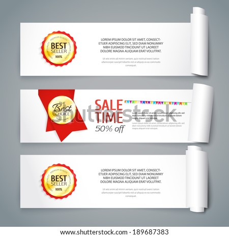 Set of paper banners with curved sides. Sale design with golden labels. Vector illustration - stock vector