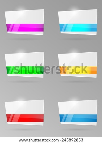 Set of paper banners with ribbon. Vector illustration.  - stock vector
