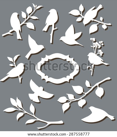 Set of paper birds - stock vector