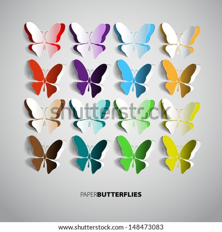 Set of paper butterflies - can be used as Greeting card - vector - stock vector