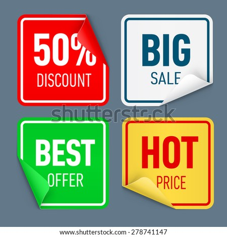 Set of paper color sticker isolated on white background - stock vector