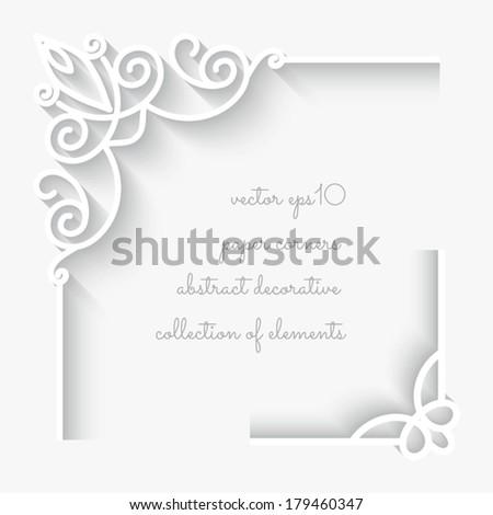 Set of paper corner ornaments on white background, vector eps10 - stock vector