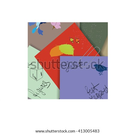 Set of  paper for painting  with clips.Vector illustration - stock vector