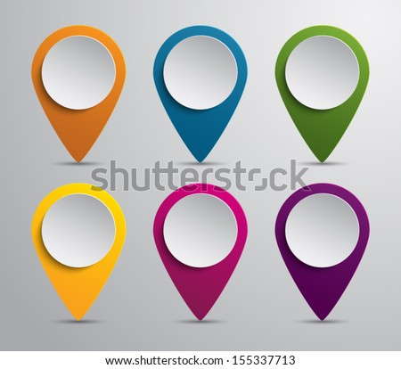 Set of paper map pointers for websites (UI) or applications (app) for smartphones and tablets - stock vector