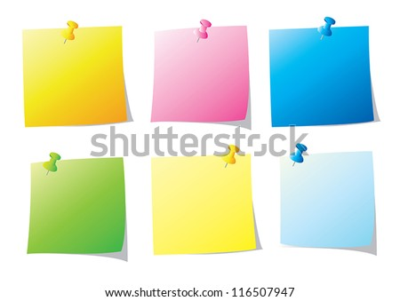set of paper note vector illustration - stock vector