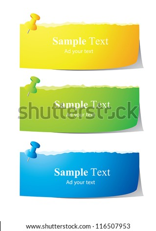 set of paper note with push pin vector - stock vector