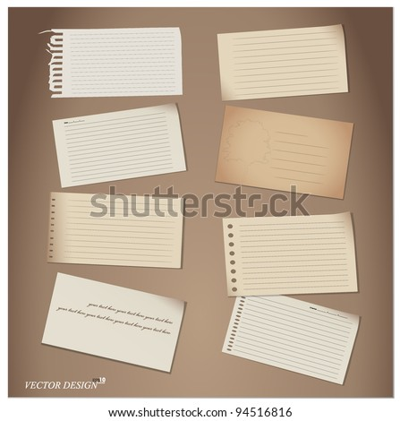 Set of Paper notes. Vector Illustration. - stock vector