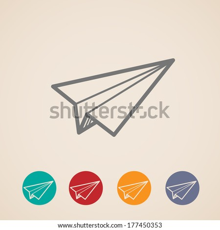 set of paper plane icons - stock vector