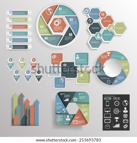 set of Paper progress steps, Vector design template, infographic elements,Vector illustration  - stock vector