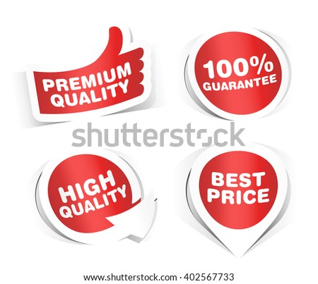 Set of Paper Stickers on White Background. Vector Elements.  - stock vector