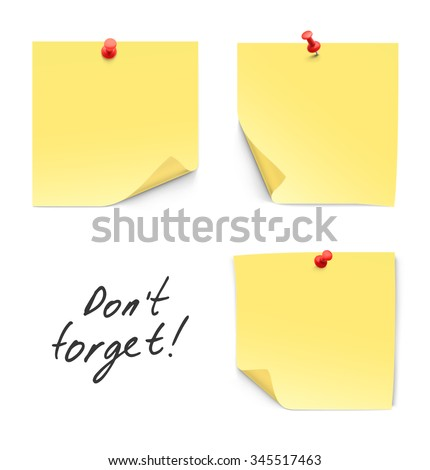 Set of paper sticks with red push pins isolated on white background. - stock vector