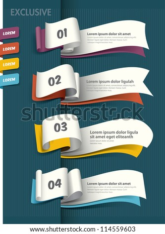 Set of Paper Tag Labels Exclusive banner design - stock vector