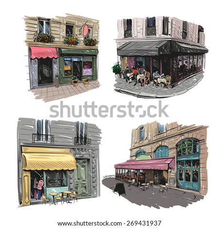 Set of Paris outdoor cafe, vector illustration - stock vector