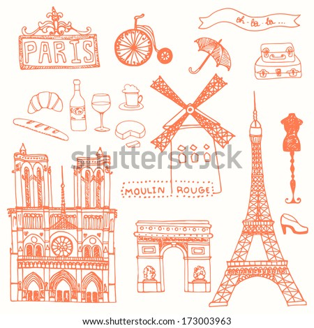 Set of Paris symbols made in vector. Eiffel tower, moulin rouge, Notre Dame De Paris, wine, cheese.  - stock vector