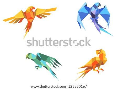 Set of parrots birds in origami paper style. Jpeg version also available in gallery - stock vector