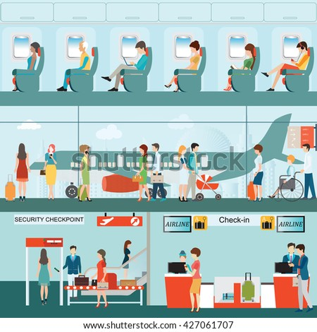 Set of Passenger airline at airport terminal with check in counter and security checkpoint, Airline interior with plane seat on the flight business travel vector illustration. - stock vector