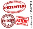 Set of patented grunge rubber stamps on white, vector illustration - stock vector