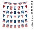 Set of Patriotic bunting flags. 4th of July American Flag for Independence Day. - stock vector
