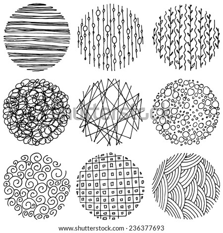 Set of patterned circles, hand drawn design elements. - stock vector