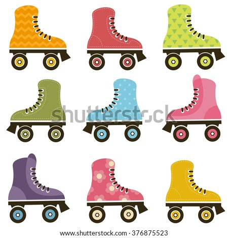 set of patterned roller skates - stock vector