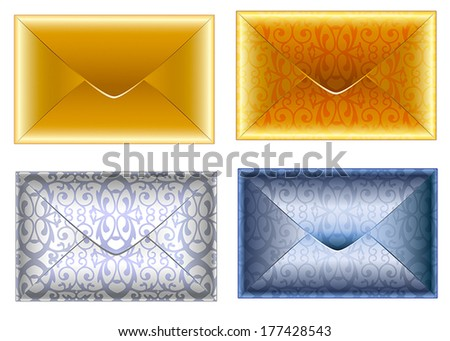 Set of patterned silver and golden paper envelopes. Holiday VIP invitation. Vector. - stock vector