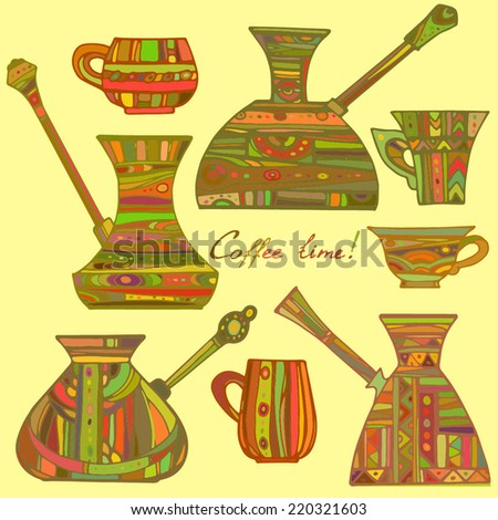 Set of patterned Turkish coffee pots. Colored patterned Turkish coffee pots and cups on a yellow background. - stock vector