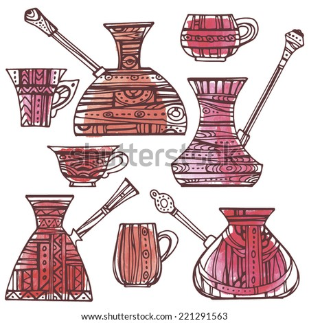 Set of patterned Turkish coffee pots. Patterned Turkish coffee pots and cups painted red watercolor spots. - stock vector