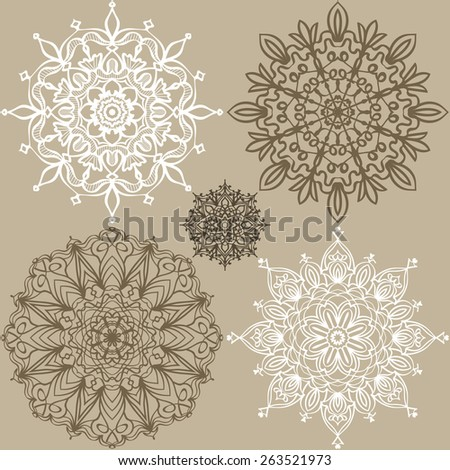 Set of patterns. Five round lace ornaments in the same style. Background for your design. Vector illustration. - stock vector