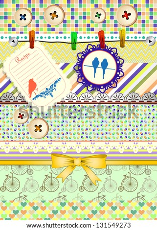 Set of patterns, frames and borders for scrapbooking. All patterns are attached. - stock vector