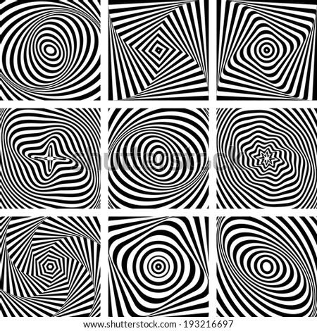 Set of patterns in op art design. Vector art. - stock vector