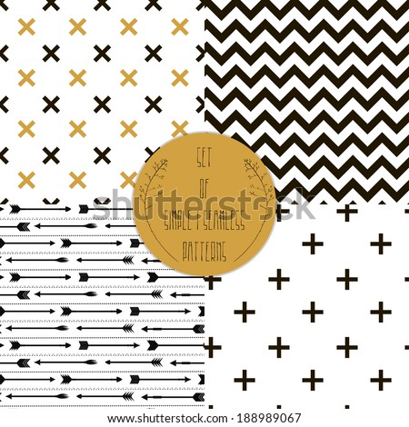 Set of  patterns. Set of simple seamless 4 black and white Scandinavian trend seamless pattern - black cross, chevrons, stripes, arrow. - stock vector