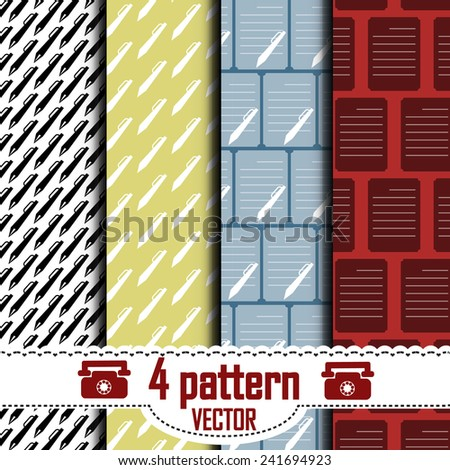 set of patterns, which show a piece of paper and a pen. Hidden under the mask pattern.  - stock vector