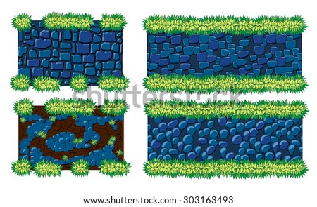 Set of pavements and landscaping for games - stock vector