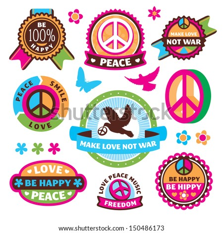 set of peace symbols and labels vector illustration - stock vector