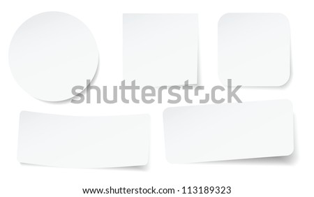 set of peeling stickers in different shape. - stock vector