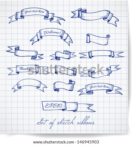 Set of pen sketch ribbon banners. Hand-drawn ribbons. Vector illustration.  - stock vector