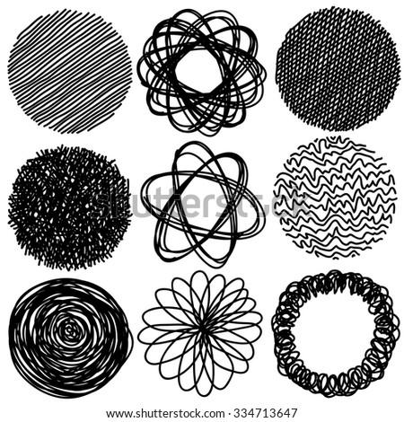 Set of pencil hand drawn doodle circles, vector - stock vector