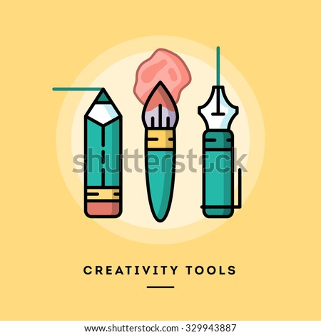 Set of pencil, paintbrush and fountain pen, flat design line banner, vector illustration  - stock vector