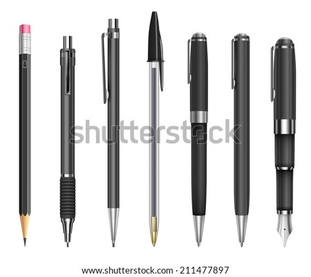 Set of pens and pencils for office, constructor and schools, vector illustration - stock vector