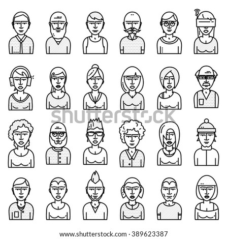Set of People Avatars for Profile Page. Flat Style Line Icons for Social Network or Social Media Design. Man and Woman Characters Collection - stock vector