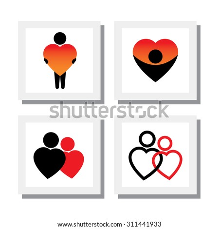 set of people expressing sympathy, love, empathy, compassion - vector icons. this also represents concepts like romance, intimacy, self-love, self-esteem, romeo juliet romance - stock vector