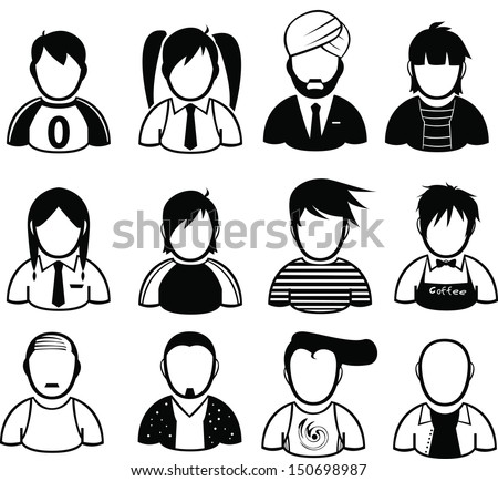 set of people icon - stock vector