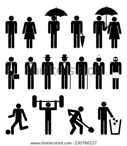 Set of people icon, black silhouette style design of man and woman characters in different poses and wardrobe walking and standing. vector art image illustration, isolated on white background - stock vector