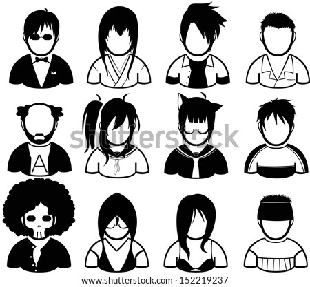 set of people icon in various costume - stock vector