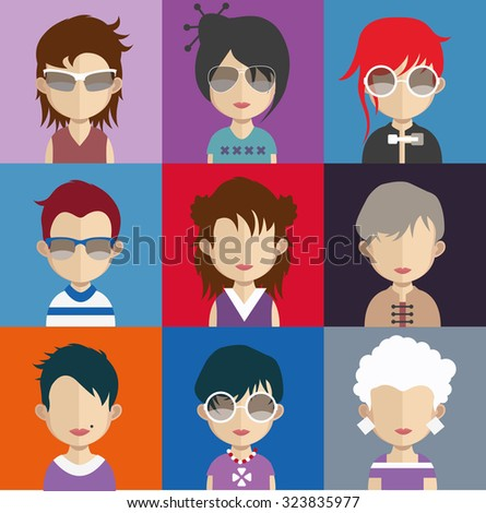 Set of people icons in flat style with faces. Vector women, men character Set 26 a - stock vector