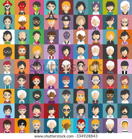 Set of people icons in flat style with faces. Vector women, men character Set 29 a - stock vector